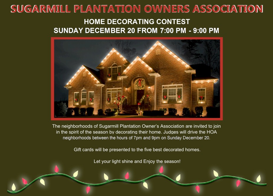 christmas home decorating contest 2015 christmas home decorating contest sugarmill plantation 10586