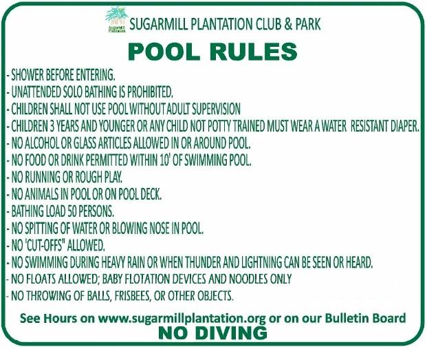 Sugarmill plantation swimming pool rules sugarmill - Rules and regulations of swimming pool ...