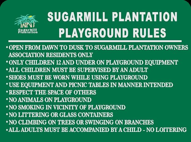 sugarmill plantation playground rules sugarmill plantation